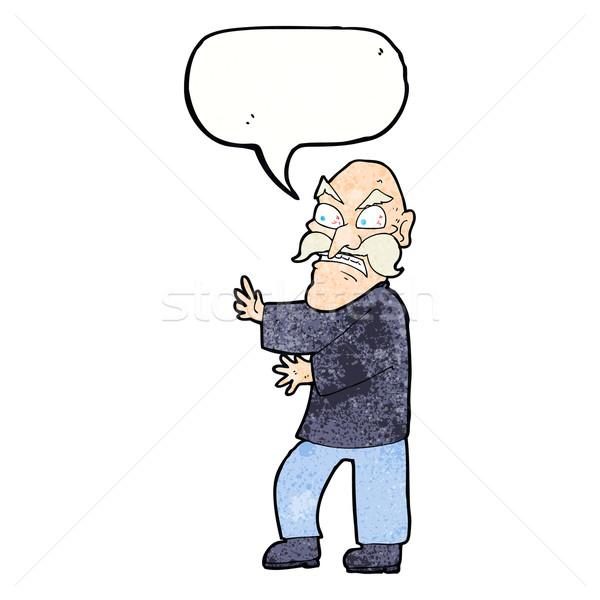 Rajz mérges idős férfi szövegbuborék kéz férfi Stock fotó © lineartestpilot