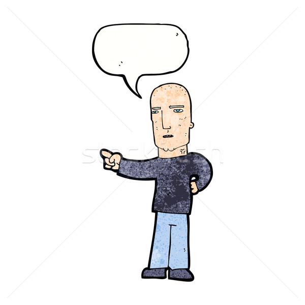 Rajz szívós fickó mutat szövegbuborék kéz Stock fotó © lineartestpilot