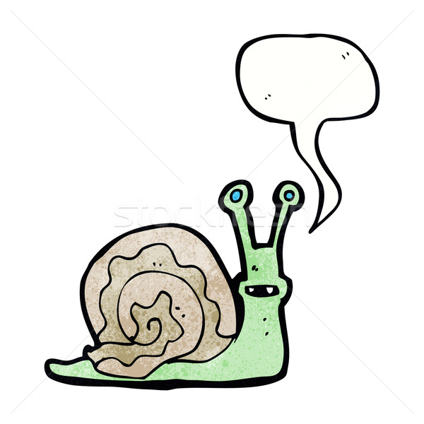 cartoon snail with speech bubble Stock photo © lineartestpilot