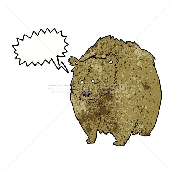 Reusachtig beer cartoon tekstballon hand ontwerp Stockfoto © lineartestpilot