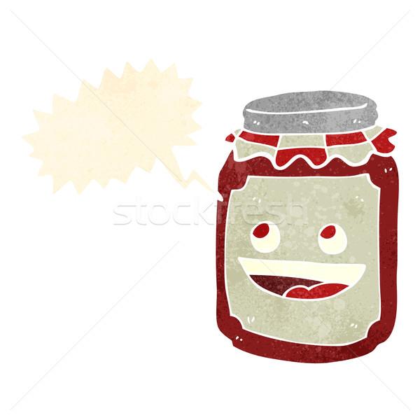 cartoon jar of preserve with speech bubble Stock photo © lineartestpilot