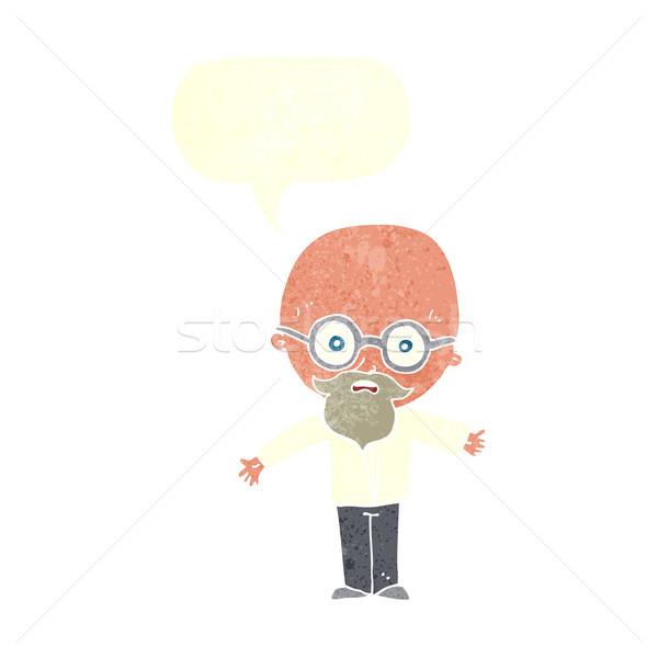 Desenho animado gênio cientista balão de fala mão homem Foto stock © lineartestpilot