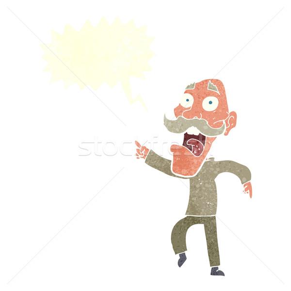 Cartoon испуганный старик речи пузырь стороны человека Сток-фото © lineartestpilot