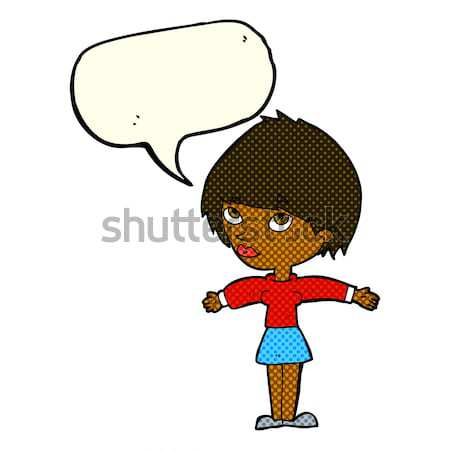 cartoon woman with hands on hips with speech bubble Stock photo © lineartestpilot