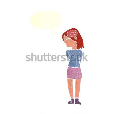 Rajz eszes nő szövegbuborék kéz terv Stock fotó © lineartestpilot