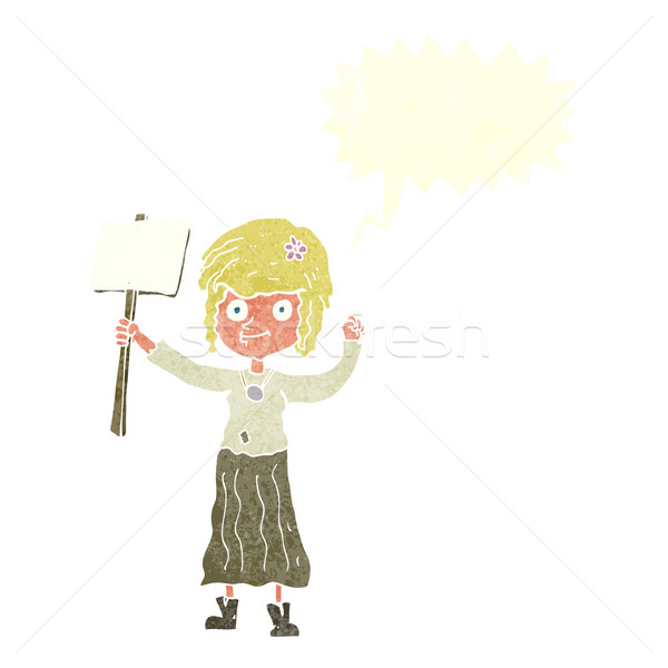 Cartoon hippie fille protestation signe bulle Photo stock © lineartestpilot