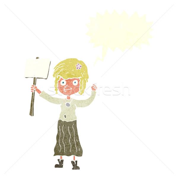 Karikatür hippi kız protesto imzalamak konuşma balonu Stok fotoğraf © lineartestpilot
