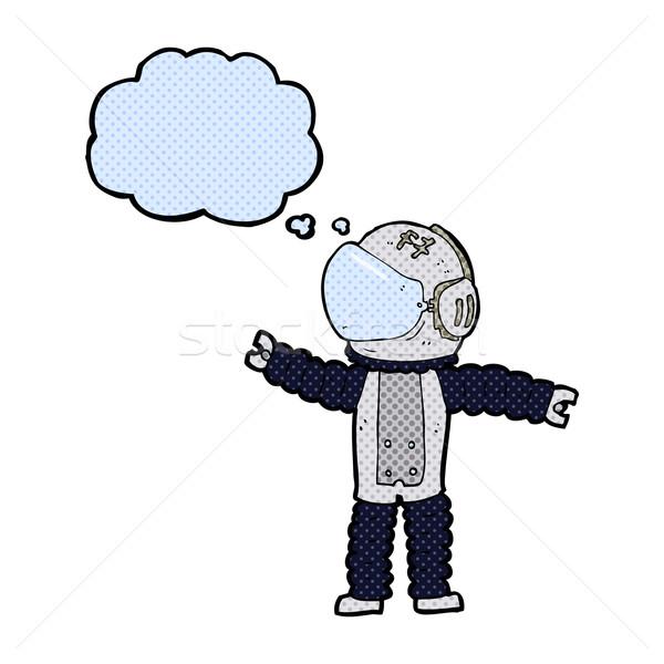 Karikatür astronot düşünce balonu el adam dizayn Stok fotoğraf © lineartestpilot