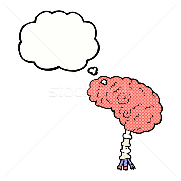 cartoon brain with thought bubble Stock photo © lineartestpilot