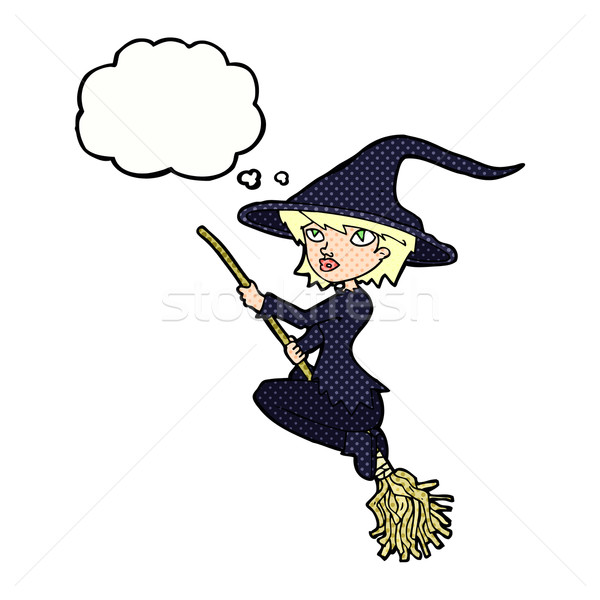 cartoon witch riding broomstick with thought bubble Stock photo © lineartestpilot