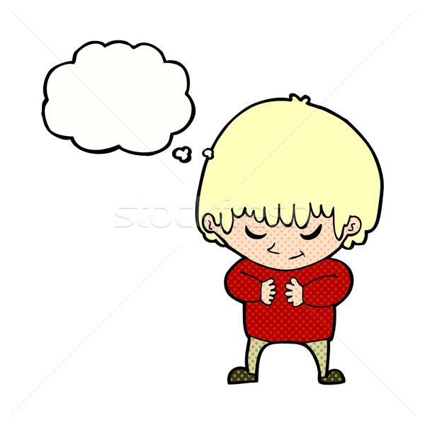 Cartoon shy ragazzo bolla di pensiero mano felice Foto d'archivio © lineartestpilot
