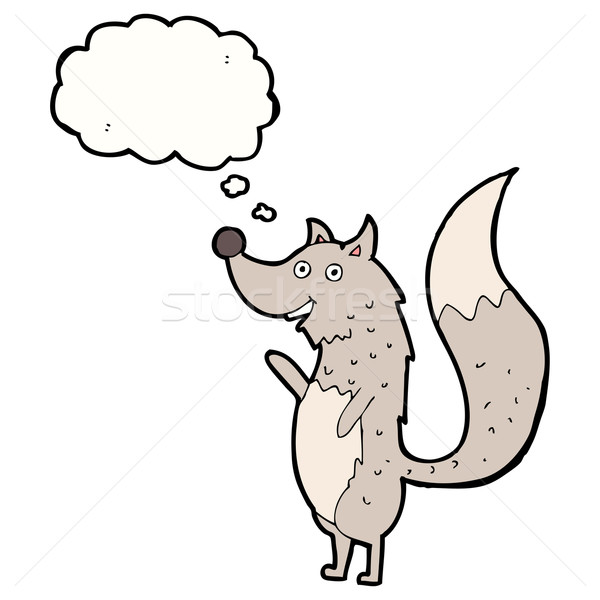 Cartoon loup bulle de pensée main design Photo stock © lineartestpilot