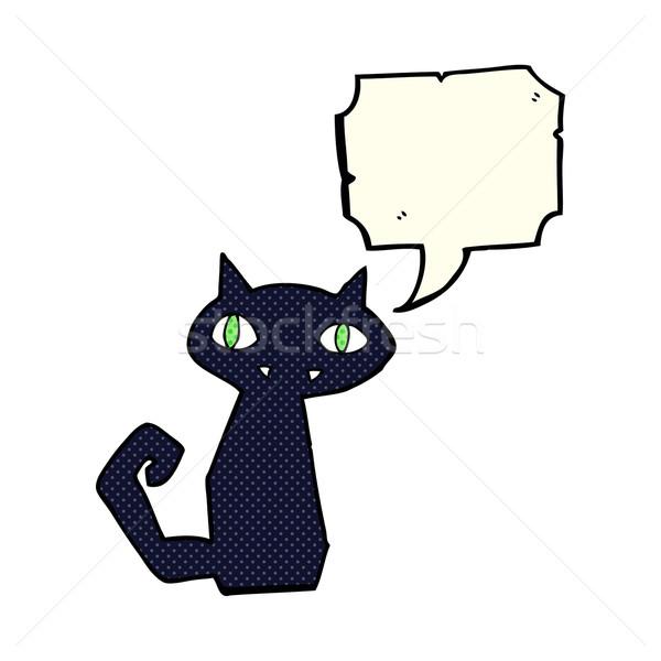 Desenho animado gato preto balão de fala mão projeto arte Foto stock © lineartestpilot