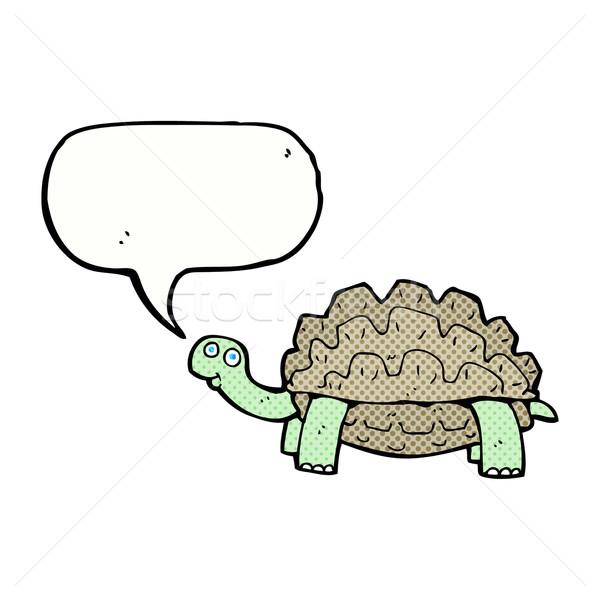 Cartoon schildpad tekstballon hand ontwerp dieren Stockfoto © lineartestpilot