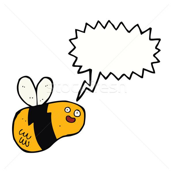 cartoon bee with speech bubble Stock photo © lineartestpilot