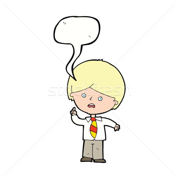 Cartoon bezorgd schooljongen hand tekstballon ontwerp Stockfoto © lineartestpilot