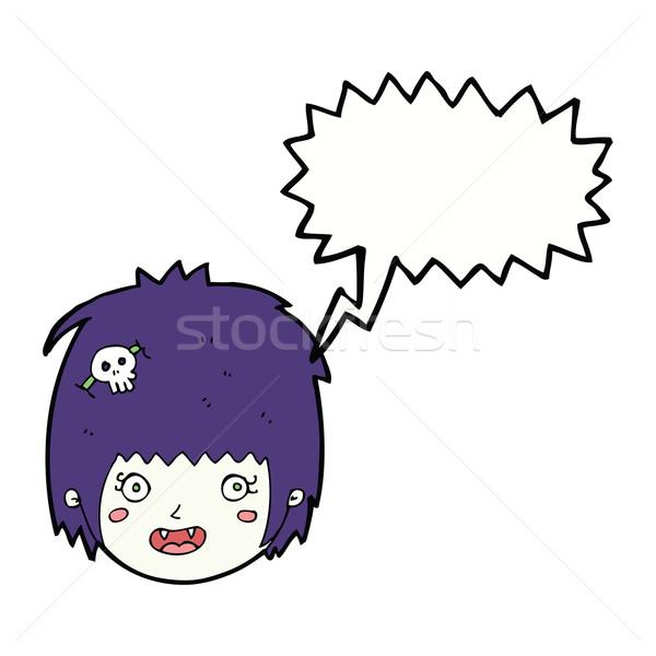 Cartoon heureux vampire fille visage bulle Photo stock © lineartestpilot
