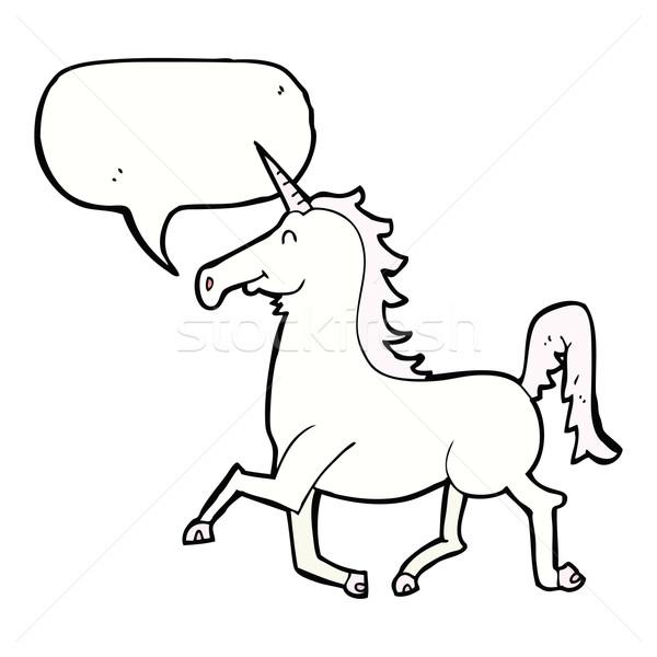 cartoon unicorn with speech bubble Stock photo © lineartestpilot