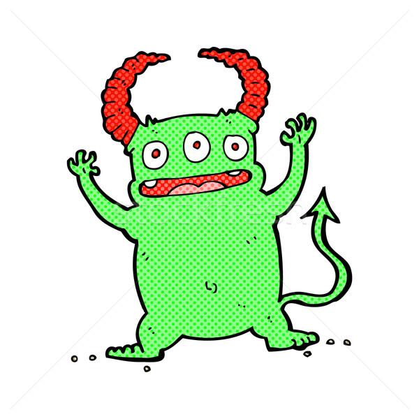 Képregény rajz kicsi ördög retro képregény Stock fotó © lineartestpilot