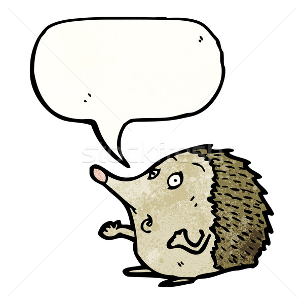 Sündisznó rajzfilmfigura szövegbuborék beszél retro rajz Stock fotó © lineartestpilot