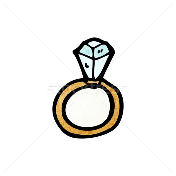 Enorme anello di diamanti cartoon parlando retro disegno Foto d'archivio © lineartestpilot