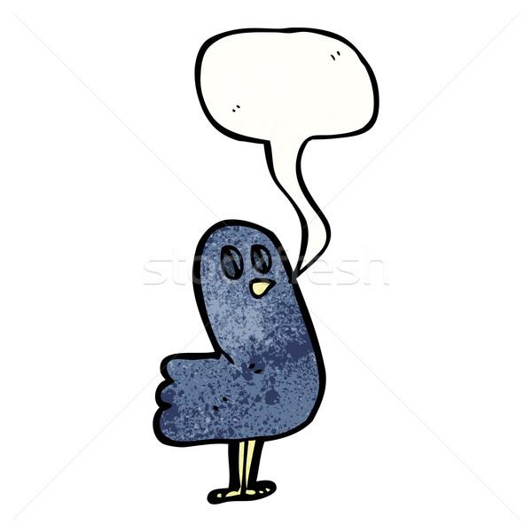 Cartoon raaf vogel praten retro Stockfoto © lineartestpilot
