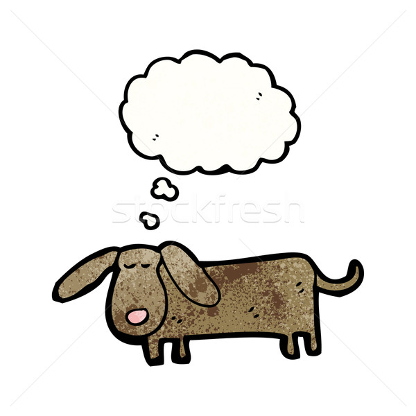 Cartoon мало собака ретро мышления рисунок Сток-фото © lineartestpilot