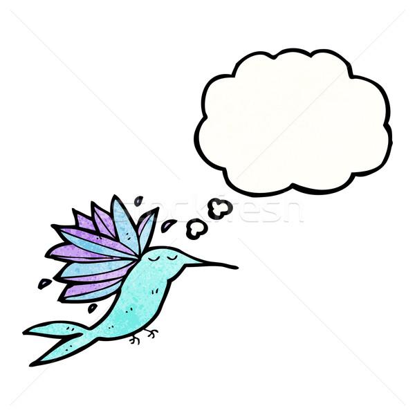 Desenho animado beija-flor balão de pensamento retro pensando desenho Foto stock © lineartestpilot