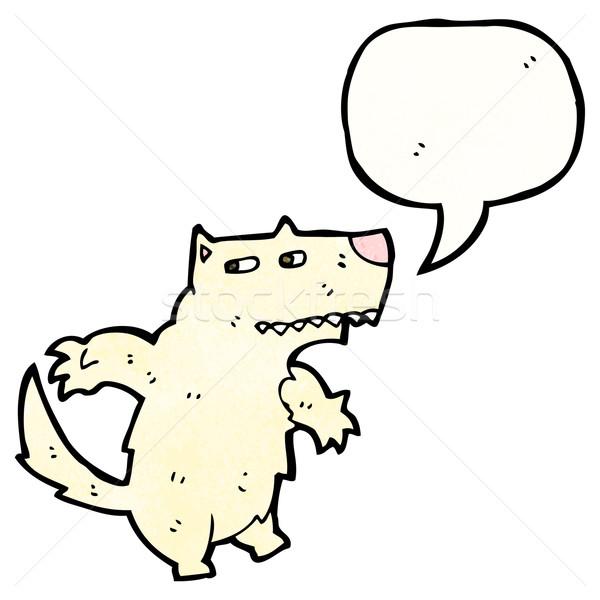 Karikatür kurt konuşma balonu sanat Retro çizim Stok fotoğraf © lineartestpilot
