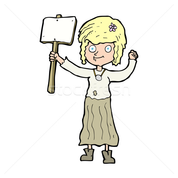 cartoon hippie girl with protest sign Stock photo © lineartestpilot
