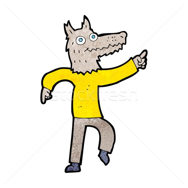 Rajz farkas férfi terv művészet retro Stock fotó © lineartestpilot