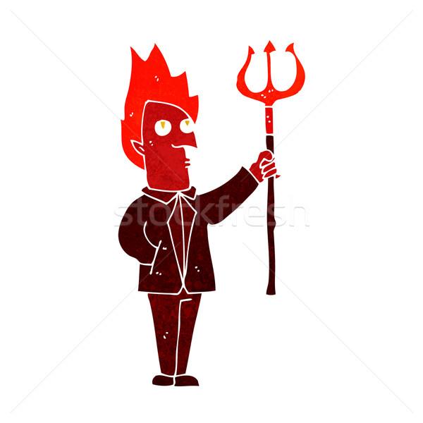 cartoon devil with pitchfork Stock photo © lineartestpilot