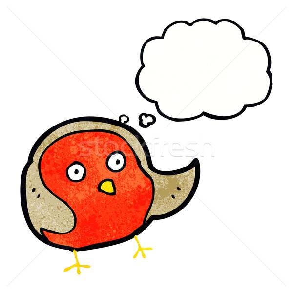 Karikatür düşünce balonu el dizayn kuş çılgın Stok fotoğraf © lineartestpilot