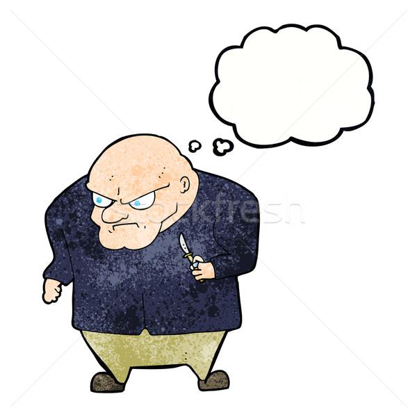 Cartoon зла человека мысли пузырь стороны дизайна Сток-фото © lineartestpilot