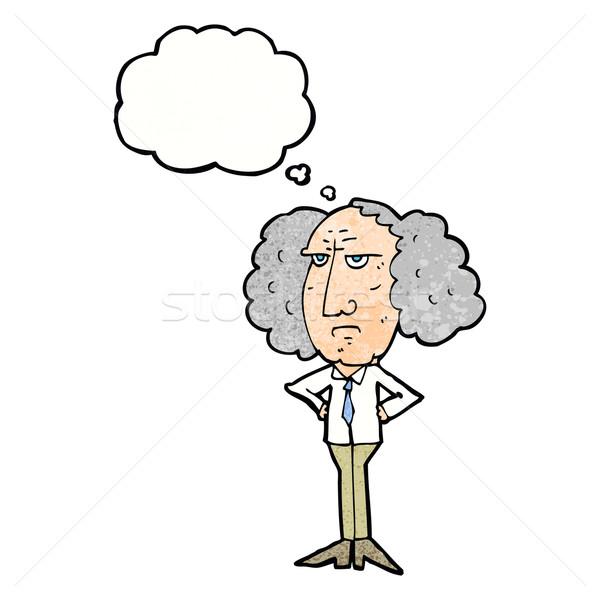 Rajz nagy haj előadó férfi gondolatbuborék Stock fotó © lineartestpilot