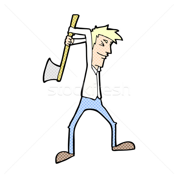 comic cartoon man swinging axe Stock photo © lineartestpilot