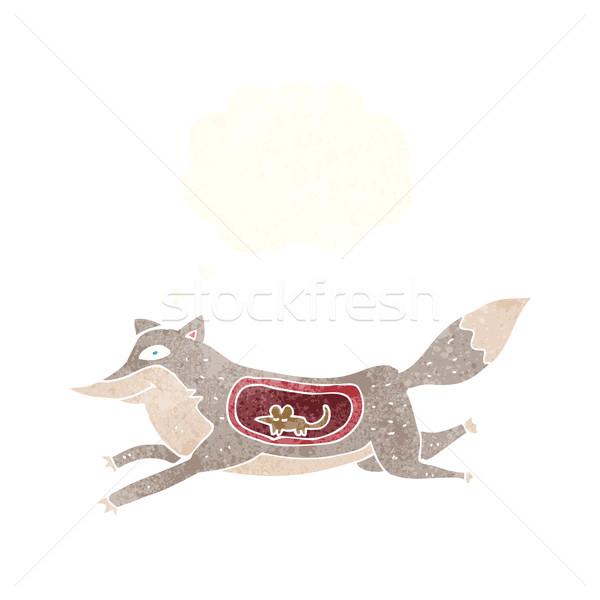 Rajz farkas egér has gondolatbuborék kéz Stock fotó © lineartestpilot