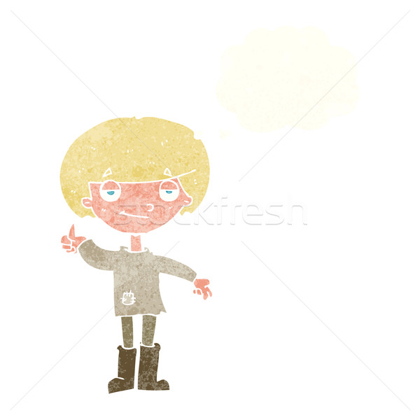 cartoon boy in poor clothing giving thumbs up symbol with though Stock photo © lineartestpilot