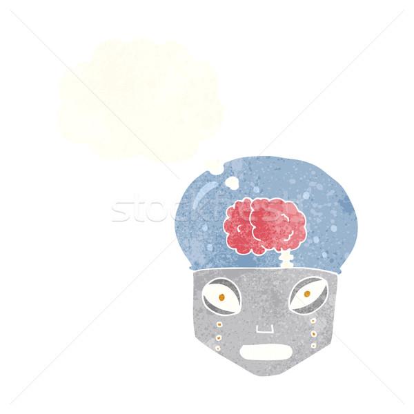 Cartoon робота голову мысли пузырь стороны Сток-фото © lineartestpilot
