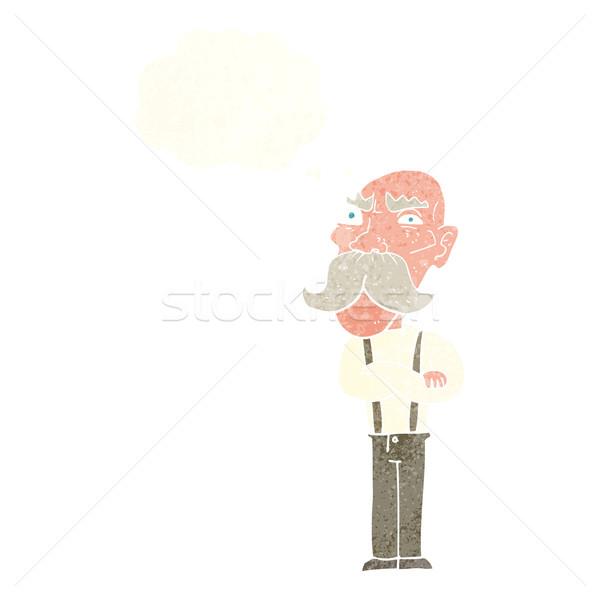 Cartoon enojado viejo burbuja de pensamiento mano hombre Foto stock © lineartestpilot