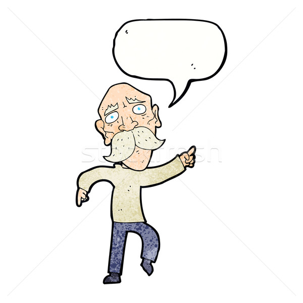 漫画 悲しい 歳の男性 ポインティング 吹き出し 手 ストックフォト © lineartestpilot