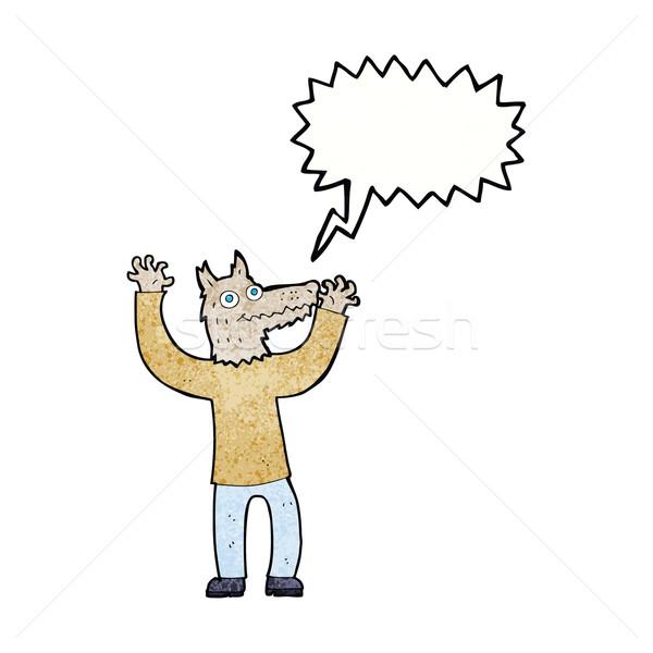Cartoon wilk człowiek dymka strony projektu Zdjęcia stock © lineartestpilot