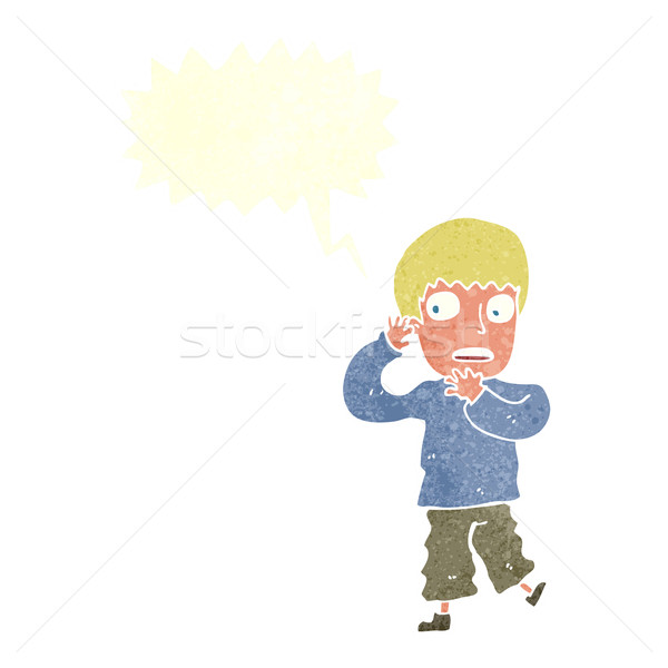 Cartoon bange jongen tekstballon hand man Stockfoto © lineartestpilot