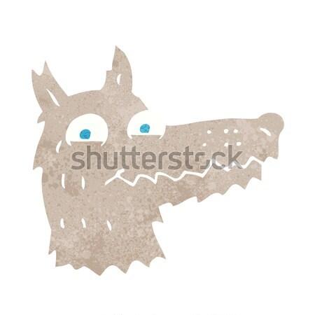 Karikatür kurt kafa konuşma balonu el dizayn Stok fotoğraf © lineartestpilot