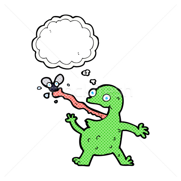 cartoon frog catching fly with thought bubble Stock photo © lineartestpilot
