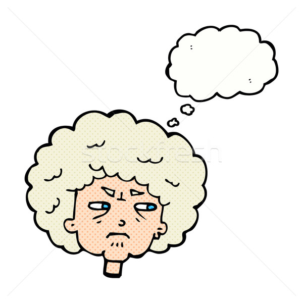 cartoon bitter old woman with thought bubble Stock photo © lineartestpilot