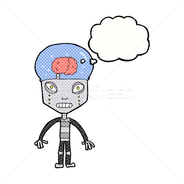 странно робота мысли пузырь стороны дизайна Crazy Сток-фото © lineartestpilot