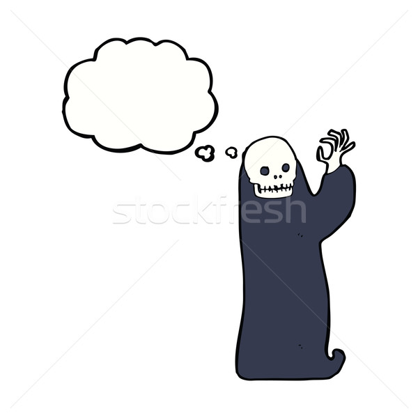 cartoon waving halloween ghoul with thought bubble Stock photo © lineartestpilot
