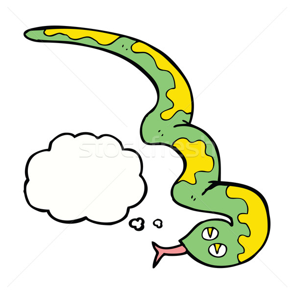 cartoon hissing snake with thought bubble Stock photo © lineartestpilot