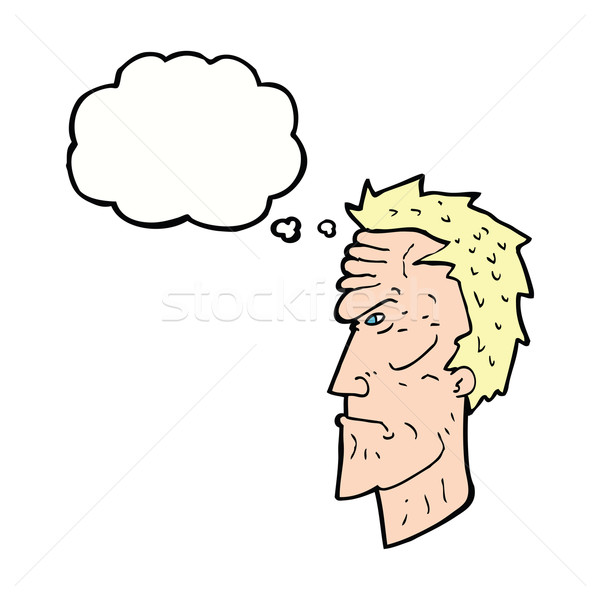 cartoon angry face with thought bubble Stock photo © lineartestpilot